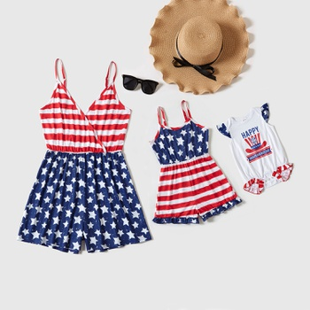 Independence Day Stripe Stitching Star Print Rompers for Mommy-girl-baby