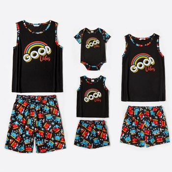Family Round Neck Sleeveless Cute Cartoon Animal Pattern Rainbow Letter Print Matching Pajamas Set(Flame Resistant)