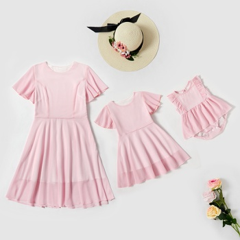 Solid Pink Matching Dresses for Mommy and Me