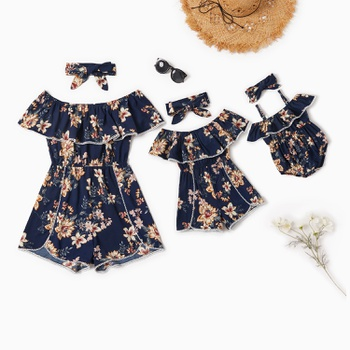 Mommy and Me Lace Stitching Floral Print Off-shoulder Rompers