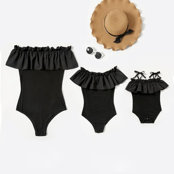 Mommy and Me Solid Ruffle Off-shoulder Rompers