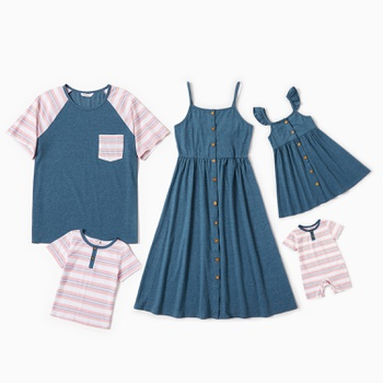 Mosaic Family Matching Sets(Solid Tank Dresses - Stripe Raglan-sleeve Tops - Rompers)