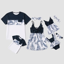 Family Look Ruffle Decor Floral Splice  Matching Tops