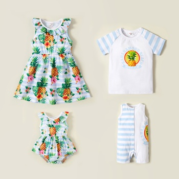 Mosaic  Raglan Short Sleeve Pineapple Print Sibling Sets