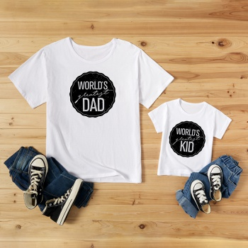 Letter Print White Cotton T-shirts for Dad and Me