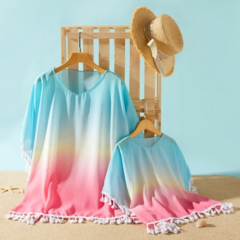 Gradient Color Tassel V-neck Tunic Beach Cover up for Mommy and Me