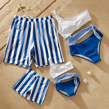 Color Block Family Matching Swimsuits(One Shoulder Swimsuits for Mommy and Me)