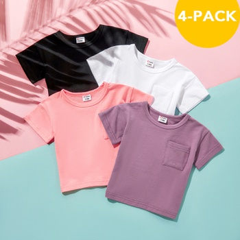 4pcs Baby Unisex casual Tee Solid Short-sleeve Cotton Shirt