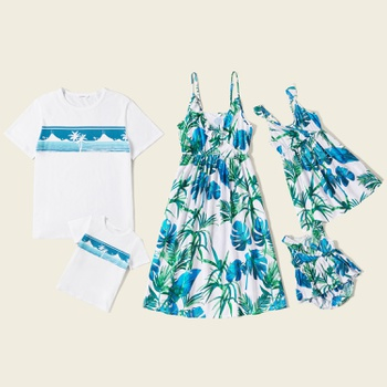 Mosaic Family Matching  Sets(Floral Flounce Tank Dresses - Coconut Tree Print Splice Tops - Rompers)