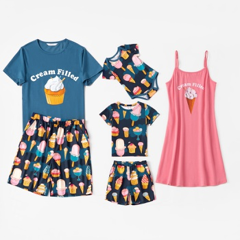 Family Ice Cream Letter Print Matching Pajamas Set(Flame Resistant)
