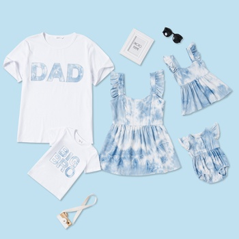 Tie Dye and Letter Print Holiday Series Family Matching Tops