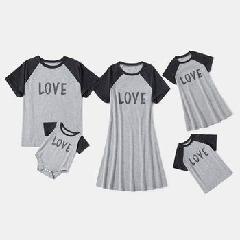 Love Letter Print Raglan Sleeves T-shirts Sets(T-shirts Dresses for Mom and me)
