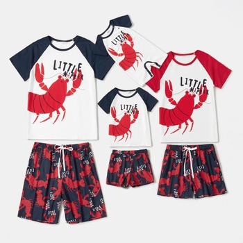 Family Look Casual Lobster Print Matching Pajamas