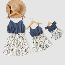 Denim Sling Floral Splice Print Rompers for Mom and Me