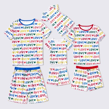 Family Color Letter Print Round Neck Short Sleeve T-shirt Shorts Matching Pajamas Set (Flame Resistant)
