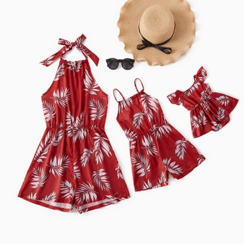 Leaf Print Red Wine Color Rompers for Mommy and Me