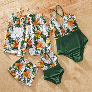 Family Look Floral Print Stitching Solid One-piece Matching Swimsuits