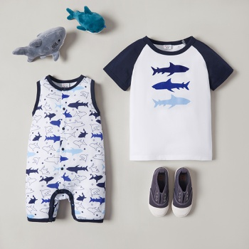 Mosaic Shark Print Sibling Sets