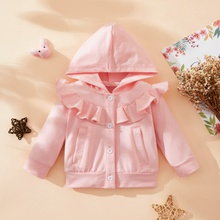 1pc Baby Girl Solid Long-sleeve Cotton Hooded casual Coat & Jacket