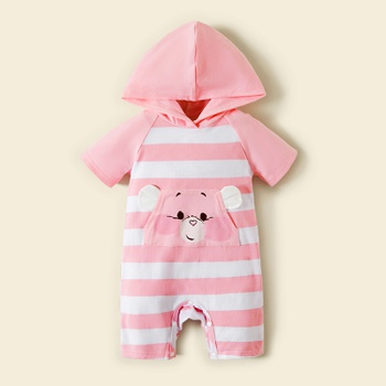 Care Bears Baby Girl Cotton Stripe and Animal Hooded Bodysuits