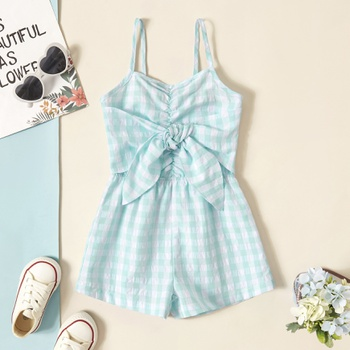 Toddler Girl Bowknot Plaid Tank Rompers