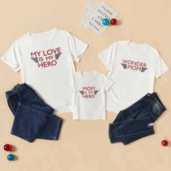 Letter Print Family Matching White T-shirts