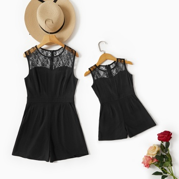 Mommy and Me Solid Lace Stitching Sleeveless Rompers