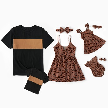 Black and Brown Series Family Matching Tops(Sling Tops for Mom and Girl ; Splice Print Tops for Dad and Boy)