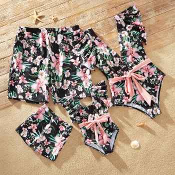 Floral Print Family Matching Swimsuits(Pink Waist Tie One-piece Swimsuits for Mommy and Girl ;  Swim Trunks for Dad and Boy)