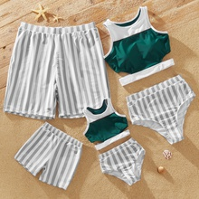 Family Look Color Block Tank Top and Stripe Shorts Matching Swimsuits