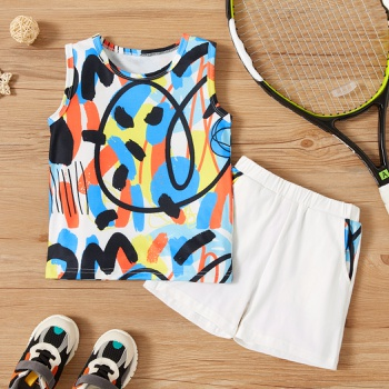 2-piece Toddler Boy Streetwear Chic Camisole and Shorts Set