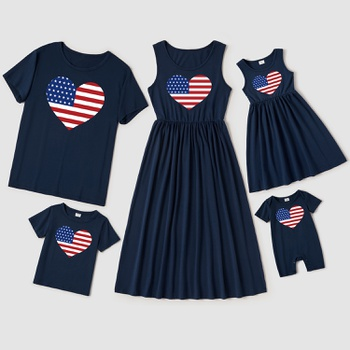 Independence Day Series Love Print Cotton Family Matching Sets(Tank Dresses for Mom and Girl ; Short Sleeve T-shirts for Dad and Boy)
