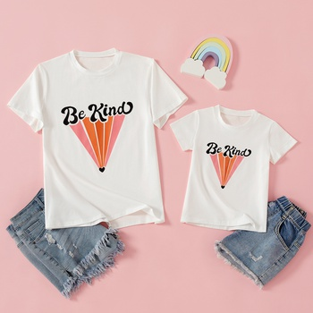 Letter Print Short Sleeve White T-shirts for Mommy and Me