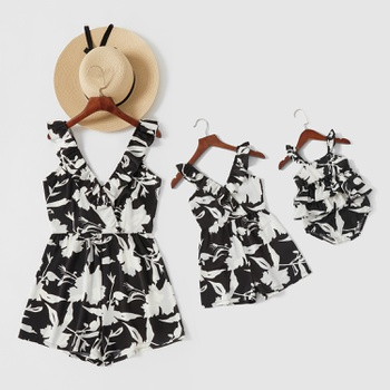 Floral and Leaf Print Ruffle Collar V-neck Matching Shorts Rompers