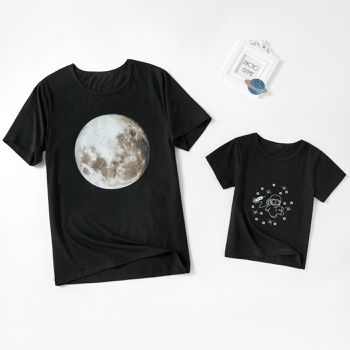 Space Astronaut Moon Series Black Cotton Short Sleeve T-shirts