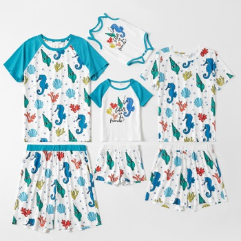 Family Cute Cartoon Shell and Seahorse Pattern Matching Pajamas Set(Flame Resistant)