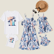 Mosaic Family Matching Sets(Ruffle Floral Print Tank Dresses - Coconut Tree Tops - Rompers )