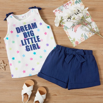 Trendy Toddler Letter Stars Print Bowknot Short-sleeve  And Shorts