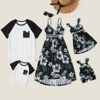 Mosaic Family Matching Sets(Floral Lace Decor Tank Dresses - Raglan Sleeves Tops - Rompers )
