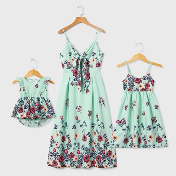 Mommy and Me Floral Print Sling Dresses