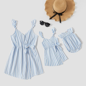 Bowknot Decor Stripe Tank Rompers for Mommy-girl-baby
