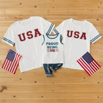 Independence Day Series Cotton White Family Matching T-shirts