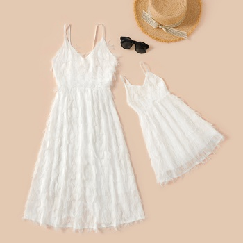 Mommy and Me Vacation Feather Sling Dresses