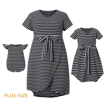 Mommy and Me Stripe Short Sleeve Dresses