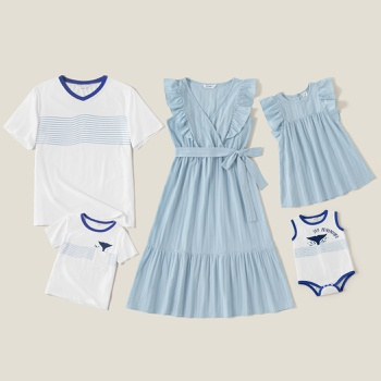 100% Cotton Family Matching Blue and White Sets