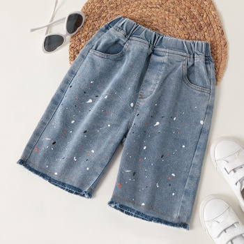 Trendy Kid Girl Splash Print Jeans Pants