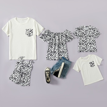 Leopard Print Family Matching Tops(Off Shoulder Tops for Mom)