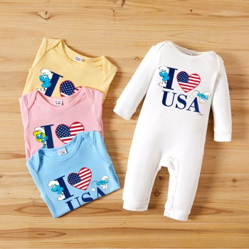 Smurfs baby Boy/Girl Sweetheart 4th of July 100% Cotton Jumpsuit