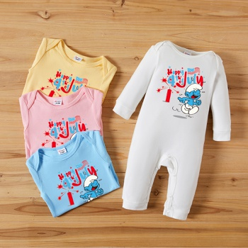 Smurfs Baby Boy/Girl Happy 4th of July 100% Cotton Jumpsuit