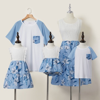 Mosaic Floral Print Stitching Solid Round Neck Family Matching Sets